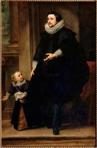 Portret van een onbekende man met zijn zoon