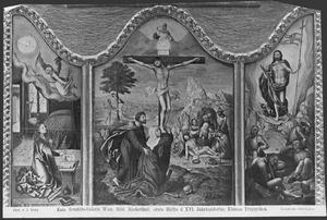 De annunciatie (links); de kruisiging (midden); de opstanding (rechts)