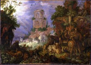 Boslandschap met dieren en een ruïne