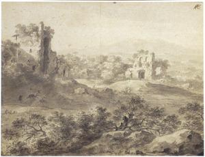 Heuvelachtig landschap met ruïne