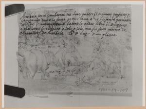 Schetsboekblad met notitie van Stradanus betreffende 'Een gevangen Romein doodt de olifant van Hannibal'