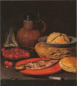 Stilleven met artisjok, steengoed kan, Wan li-bord met boter, kersen en een maatjesharing
