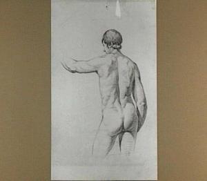Studie van een naakte jongeman, op de rug gezien