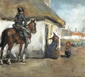 Cavalerist bij een boerenwoning