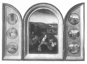 Christus als twaalfjarige in de tempel, de besnijdenis, de graflegging (links), de rust op de vlucht naar Egypte (midden), de kruisdraging, de kruisiging, de bewening (rechts)