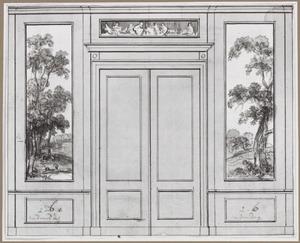 Achterwand met twee behangselvlakken ter weerszijden van een porte-brisée