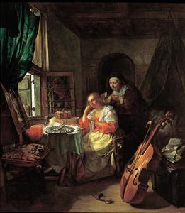 Vrouw aan haar toilet, geholpen door een oude dienstbode