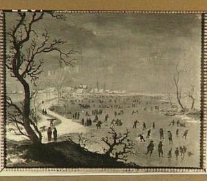 Winterlandschap met schaaters