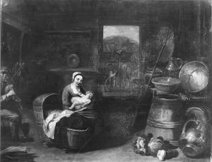 Een vrouw met een baby in een boereninterieur