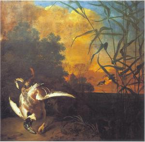 Jachthond met dode eend
