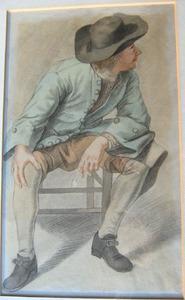 Studie van een zittende man