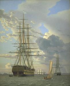 Russisch lijnschip en een fregat gaan voor anker in Helsingør