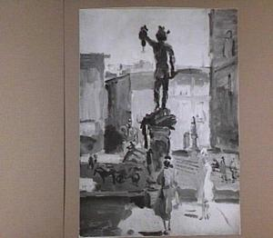 Piazza della Signoria te Florence, het standbeeld van Perseus in de voorgrond