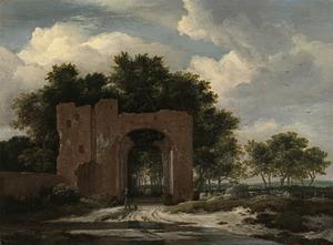Gezicht op de poort van Huis ter Kleef bij Haarlem (?)
