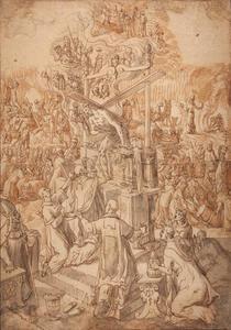 De mis van de H. Gregorius de Grote met Christus in de wijnpers