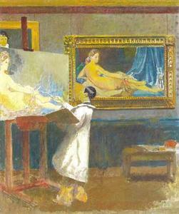 Japanse schilder het schilderij 'de grote Odalisque' van Ingres  kopierend