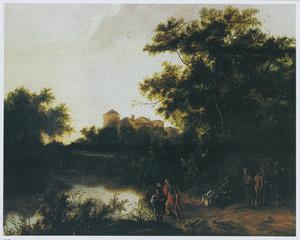 Landschap met de doop van de kamerling door de H. Philippus (Handelingen 8:26-40)