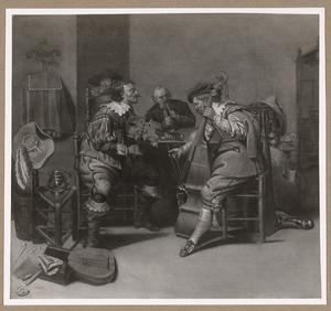 Musicerende mannen in een interieur