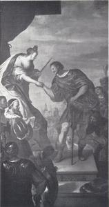 Adolf I van Schleswig-Holstein-Gottorf neemt in 1560 van de Engelse koningin Elisabeth I de Orde van de Kousenband in ontvangst