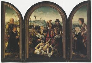 Drieluik met de Bewening van Christus en stichtersportretten van een echtpaar