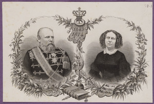 Portret van koning Willem III (1817-1890) en koningin Sophie(1818-1877)