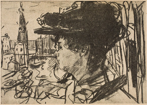 Portret van de schilderes Thérèse Schwartze (1851-1918); in de achtergrond de Amsterdamse Munttoren