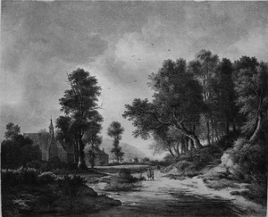Bebost landschap met een ondergelopen weg langs een dorp