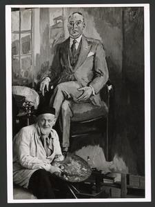 De schilder Kees van Dongen voor een portretschilderij Henri van Abbe