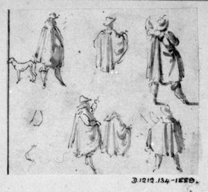 Studies van een man met cape, op de rug gezien, en een hond