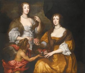 Dubbelportret van Elizabeth Savage, Lady Thimbleby (1612-?) en haar zus Dorothy savage, burggravin Andover, later gravin van Berkshire (?-1691), met een cupido