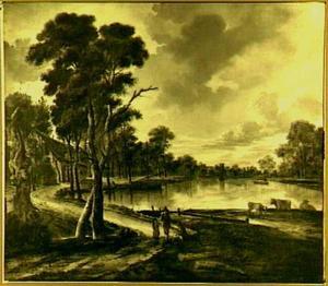 Rivierlandschap met zonsopgang