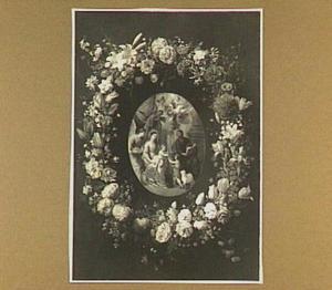Bloemenkrans rond Maria en Christus en Johannes de Doper als kinderen