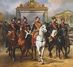 Koning Louis-Philippe verlaat Versailles met zijn zoons als escorte op 10 juni 1837