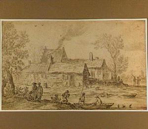 Huizen en figuren op een rivieroever