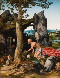 De boetende Hieronymus in een landschap