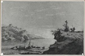 Bergachtig rivierlandschap met kruis op een rots