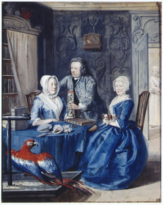 Portret van de verzamelaar en kunstenaar Jan Snellen (1711-1787), Margaretha van 't Wedde (1681-1751) en Catharina Vroombrouck (1693-1752)