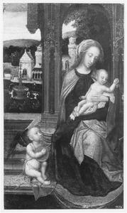 Tronende Maria met kind en luitspelende engel (fragment)
