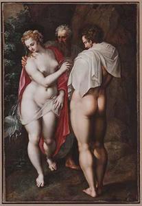 God de Vader brengt Eva tot Adam (Genesis 2:22)