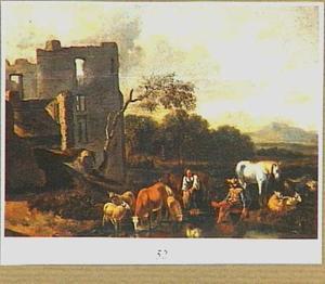 Ruine van kasteel Brederode vanuit het oosten, in een gefantaseerde omgeving