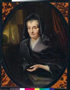 Portret van een oude vrouw in rouwkleding
