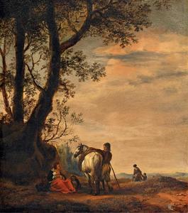 Landschap met een rustende familie onder een boom