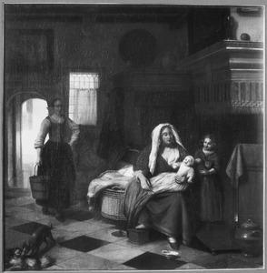 Huiselijke scene met een vrouw met kinderen bij de haard