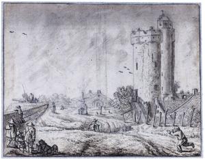 De Utrechtse stadswal met de Bijlhouwerstoren vanuit het oosten gezien
