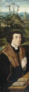 Portret van een stichter, in de achtergrond de kruisiging