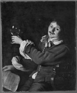 Jonge man met roemer en bladmuziek