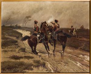 Twee officieren van de Pruissische Leib Garde met op de achtergrond de naderende Franse troepen