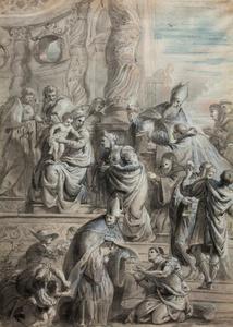 Maria met Kind vereerd door augustijner heiligen