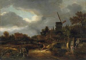 Landschap met rustende wandelaars, een molen en een kalkoven