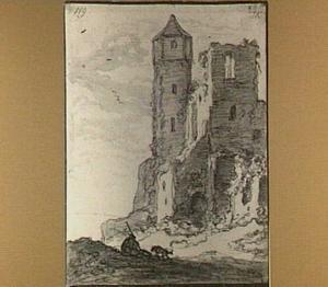 Ruïne van een kasteel met figuur en hond